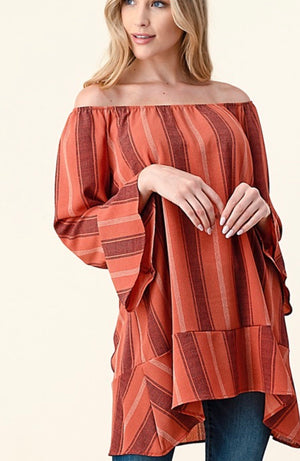 Off shoulder stripe - Marsala