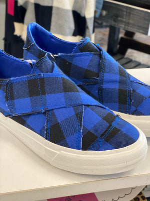 Plaid along slip on sneaker shoe blue/black