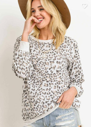 Leopard french terry top l/s