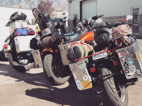 Departure time, Camp Grim Parts Co on Adventure Harley Davidsons