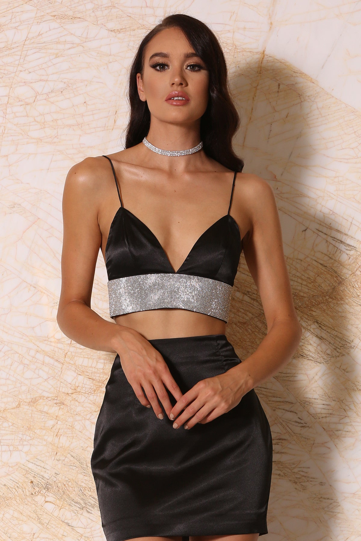 48b19790dd3989 Ilona Satin Diamonte Triangle Bralette - Black - Meshki test