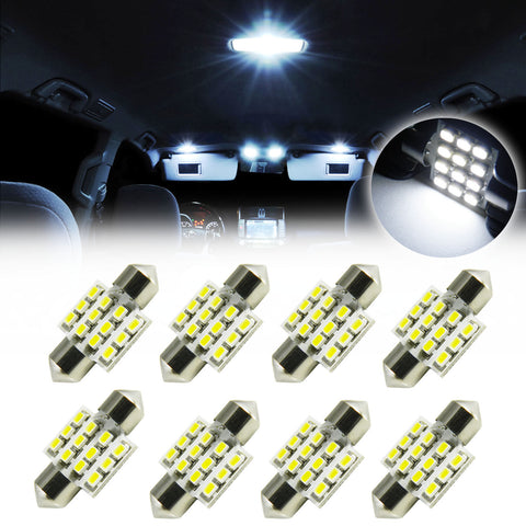 8PCS White 12-SMD 31MM DE3423 3175 Festoon LED Interior Lights Dome Map Bulbs New