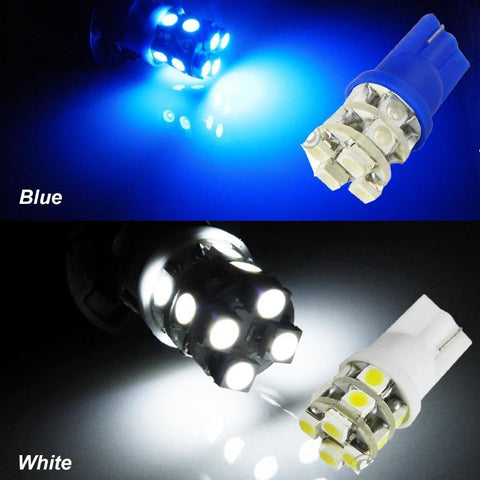 10x Super White\ Blue 12-SMD T10 194 168 2825 175 W5W Wedge LED Car Lighting Bulbs