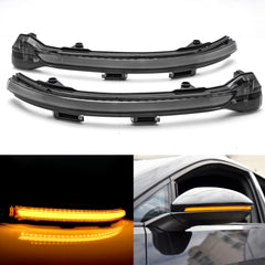 Amber LED Side Mirror Turn Signal Light for VW Volkswagen Golf MK7 GTI 2013-up, Smoked Black Dynamic Sequential Blink Side Mirror Marker Lens