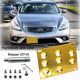 JDM FRONT REAR BUMPER RACING STYLE RED TOW HOOK FOR INFINITI Q50 Q60 NISSAN GT-R 370Z[Black/Gold]
