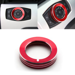 1x Red Aluminum Headlight Fog Light Switch Knob Cover Button Ring Trim for Ford Mustang F-150 Raptor 2015-up