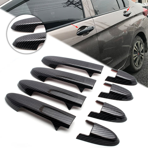 New Carbon Fiber Style Side Door Handle Cover Guard Trim for Honda Fit 2014-2019