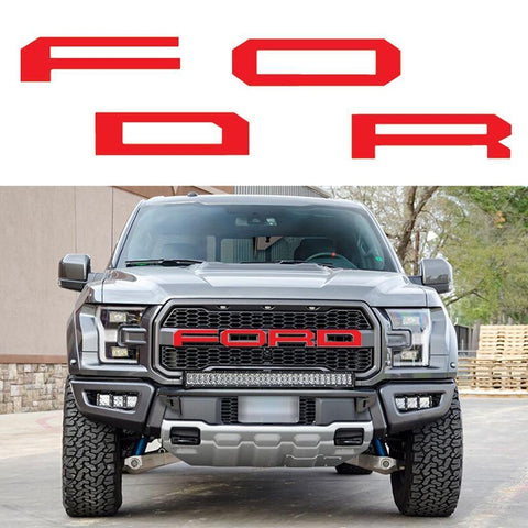FORD Letter Decals Vinyl Die-Cut Decals for Ford F-150 Raptor 2017+ Front Grill/ Rear Tailgate Red