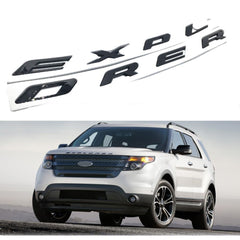 Xotic Tech EXPLORER Letter Emblem Badge 3D Plated Decorative Sticker for 2011-2017 Ford Explorer SUV Glossy Black