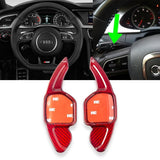 Black/ Red Real Carbon Fiber Steering Wheel Shifter Gear Paddle DSG Extensions For Audi A4L A6L