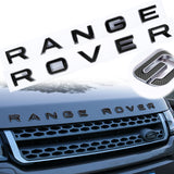 For Land Rover Front Hood 3D Emblem - Black/ Red RANGE ROVER Letter ABS Badge Decal for Rear Trunk Tailgate Decoration