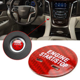 Red Pure Carbon Fiber Keyless Engine Start Stop Button Cover Ignition Push Start Button Cap for Chevrolet/for Cadillac/for GMC