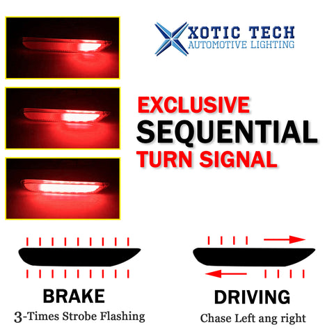 3D Optic Smoked Lens Rear Bumper Reflector Brake Tail Lights w/Sequential Turn Signal Lamps, Strobe Brake Lighting Kit For Infiniti Q50 QX56 QX60 QX80 Nissan Pathfinder Rogue, etc