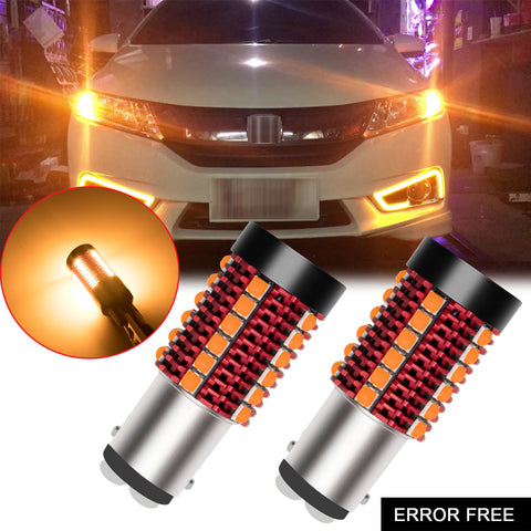2pcs Error Free 1156 1141 BA15S / 7443 7440 T20 / 1157 2057 7528 BAY15D / 3157 3156 3057 4157 LED Turn Signal Light Bulb, Anti Hyper Flash Canbus Yellow Orange LED Bulb Replacement, No Load Resistor Need