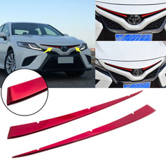 2pcs Red Stainless Steel Front Center Grill Grille Cover Guard Trim for Toyota Camry SE XSE 2018 2019