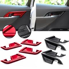 4pcs Carbon Fiber Style / Red Car Inner Door Handle Bowl Cover Trim for Toyota Camry 2018 2019