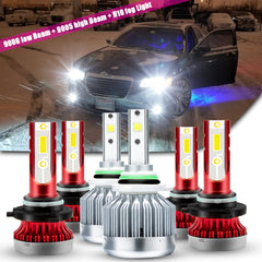for Chrysler 300 2005-2009 LED Headlight Fog Light Combo Kit Super Bright, 9006 9005 LED Headlight Low High Beam + H10 9145 LED Fog Light Bulb 6000K White