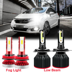 for Honda Fit HR-V 2007-2019 LED Headlights High Low Beam Fog Light Bulb Xenon White 6000K, High Power Bright Headlight Fog Lamp Package Combo