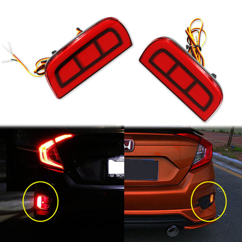 2x Add-on Rear Bumper Marker Reflector Red LED Lights For 2016-17 Honda Civic Sedan