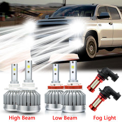 6000K White LED Headlight High Low Beam Fog Light Bulb Combo Package kit for Toyota Tundra 2007-2013
