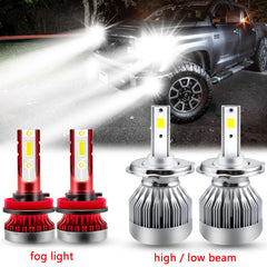 Xenon White LED Headlight High Low Beam Fog Light Combo Kit for Toyota Tacoma 2012-2015, Extremely Bright Headlight Driving Lamp Package Set