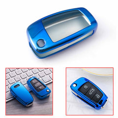 X AUTOHAUX TPU Car Smart Key Remote Flip Fob Cover Shell Protective Case for Cadillac Escalade Blue
