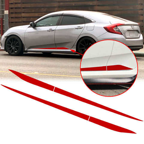 Car Side Skirt Stripe Vinyl Sticker Lower Door Panel Decal Molding Trim for Honda Civic 2016-2019, Black/Red