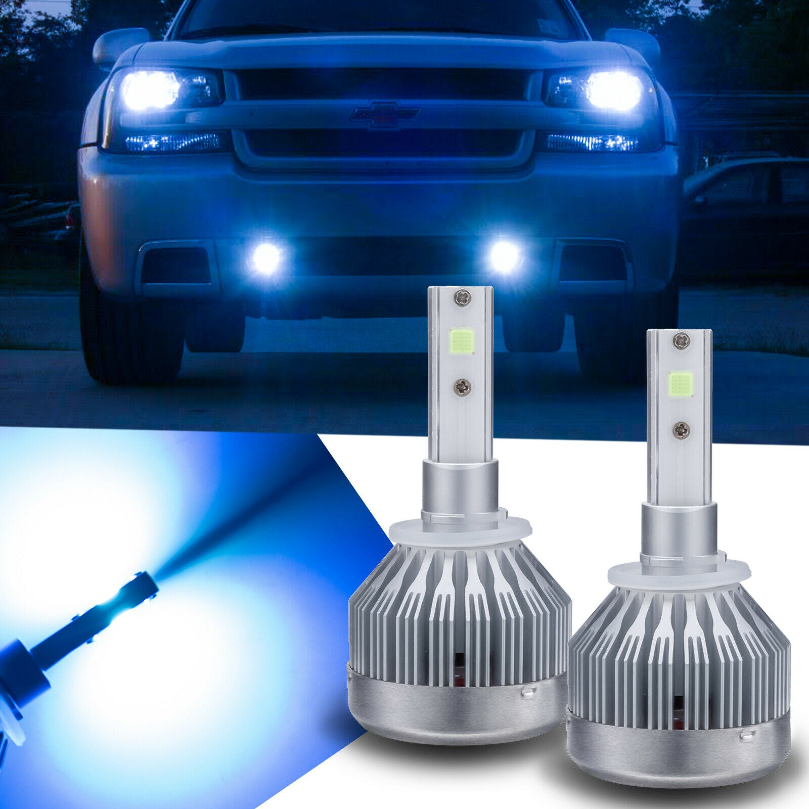 2pcs 881 880 Ice Blue 8000K COB LED Fog Light Low High Beam
