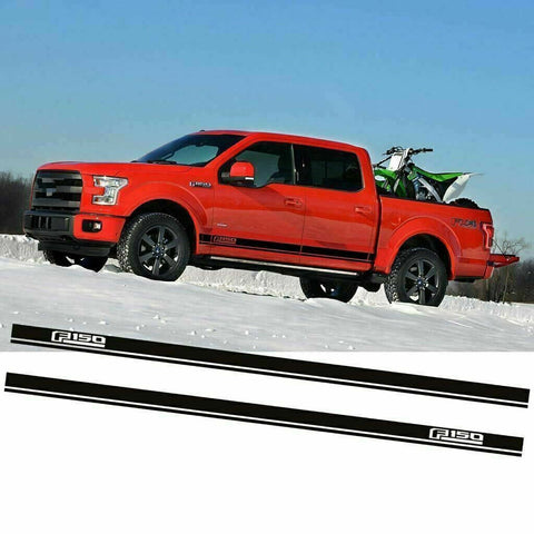 Vinyl Stripe Decal Car Body Rocker Side Skirt Sticker for Ford F-150 2015-2018 Glossy Black