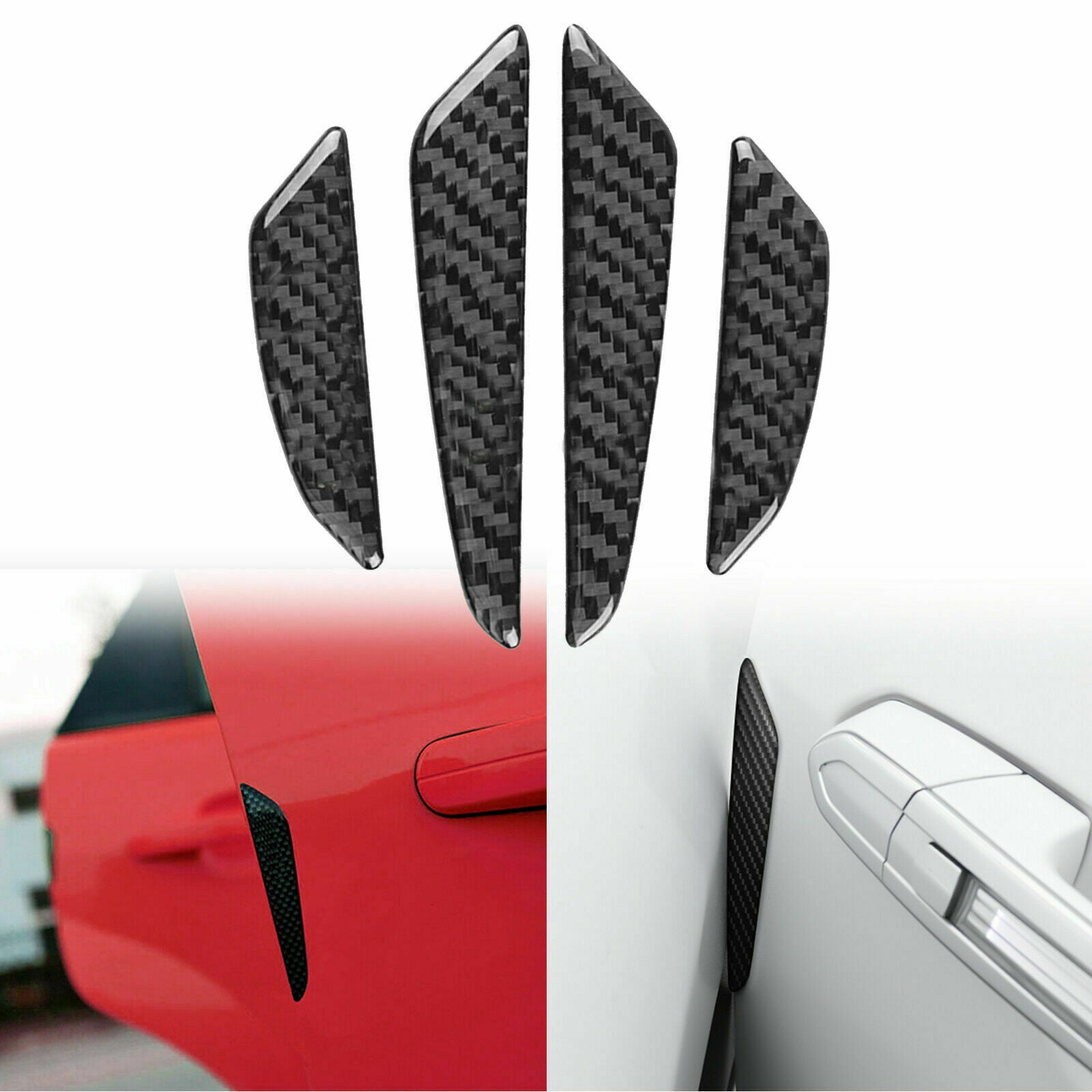 itchoate Universal Carbon Fiber Car Door Edge Guard Strip Scratchable Protective Strip Essential Accessories Silver