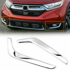 Chrome Stainless Steel Front Fog Light Lower Cover Trim Sticker for Honda CR-V 2017-2019