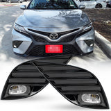for Camry Set JDM LED Fog Driving Light Kit, Pair of Fog Lamp + Glossy Black Bezel Cover + On/Off Switch Relay Wiring Harness for Toyota Camry SE XSE 2018-up