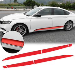 6pcs Red / Matte Black Vinyl Car Door Side Stripe Sticker Lower Door Panel Decal Molding Trim for Honda Accord 2018 2019