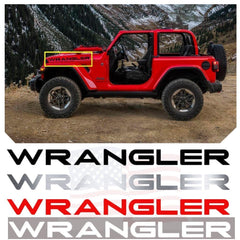 2 x Black/ Brushed Silver/ Red/ White WRANGLER Letter Decal Hood Vinyl Sticker for Jeep Wrangler Rubicon CJ YJ TJ JK JL
