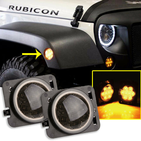 2pcs Round / Square Style LED Turn Signal Front Grill Side Marker Light Smoked Lens for Jeep Wrangler JK 2007-2017