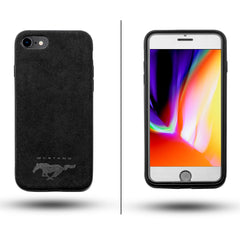 Luxury Super Mustang Logo Slim Leather Alcantara Suede Durable Protective Cover Case for iPhone 7 8 iPhone 7 8 Plus iPhone X