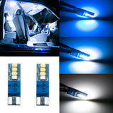 2pcs T10 168 W5W 194 Extreme Bright 8-SMD LED Car Interior Light Bulb License Plate Map Side Marker Lamp, Fading Blue to White