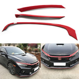 3pcs Red ABS R-Type Front Hood Grille Moulding Cover Trim for Honda Civic 2016-2019