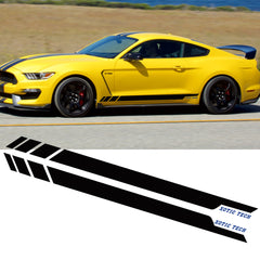 2pcs Glossy Black / White Car Side Skirt Stripe Sticker Door Molding Decal Trim for Ford Mustang 2015-2018, Car Exterior Decoration