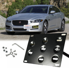 Set Black Front Bumper Tow Hook License Plate Mount Bracket Relocator Kit for Jaguar XF 2009-up, Jaguar XE 2017-up - No Drill