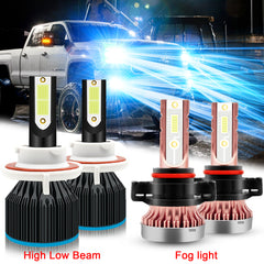 for GMC Yukon 2007-2014 Ice Blue LED Headlights High Low Beam + Fog Light Bulbs Super Bright