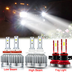 for GMC Sierra 1500 2500 3500 2007-2014 LED Headlights Kit High Low Beam + Fog Light Package 6000K Xenon White