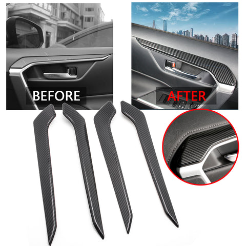 4pcs for Toyota RAV4 2019 Interior Door Panel Armrest Cover Molding Trim ABS Carbon Fiber