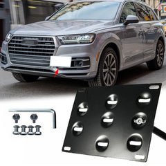 1 Set Black Sporty Racing Front Bumper Tow Hook License Plate Frame Relocator for Audi Q7 2016-up - No Drill Mounting Bracket Adapter Kit