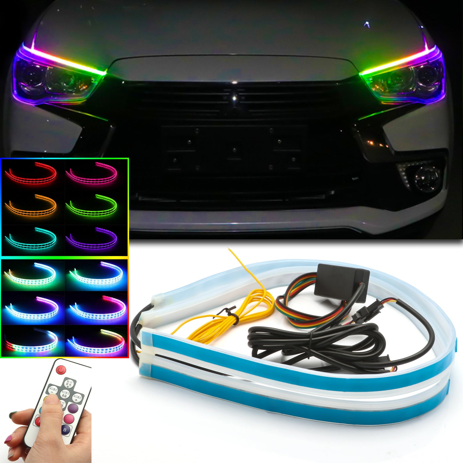 Car Flexible Daytime Running Lights Ice White-Amber Dual Color Sequence LED Strip Tube Switchback Headlight /& Turn Signal Lights Tube Fits for Any 12V Cars FAYUE 2Pcs 24 Inches DRL LED Light Strip