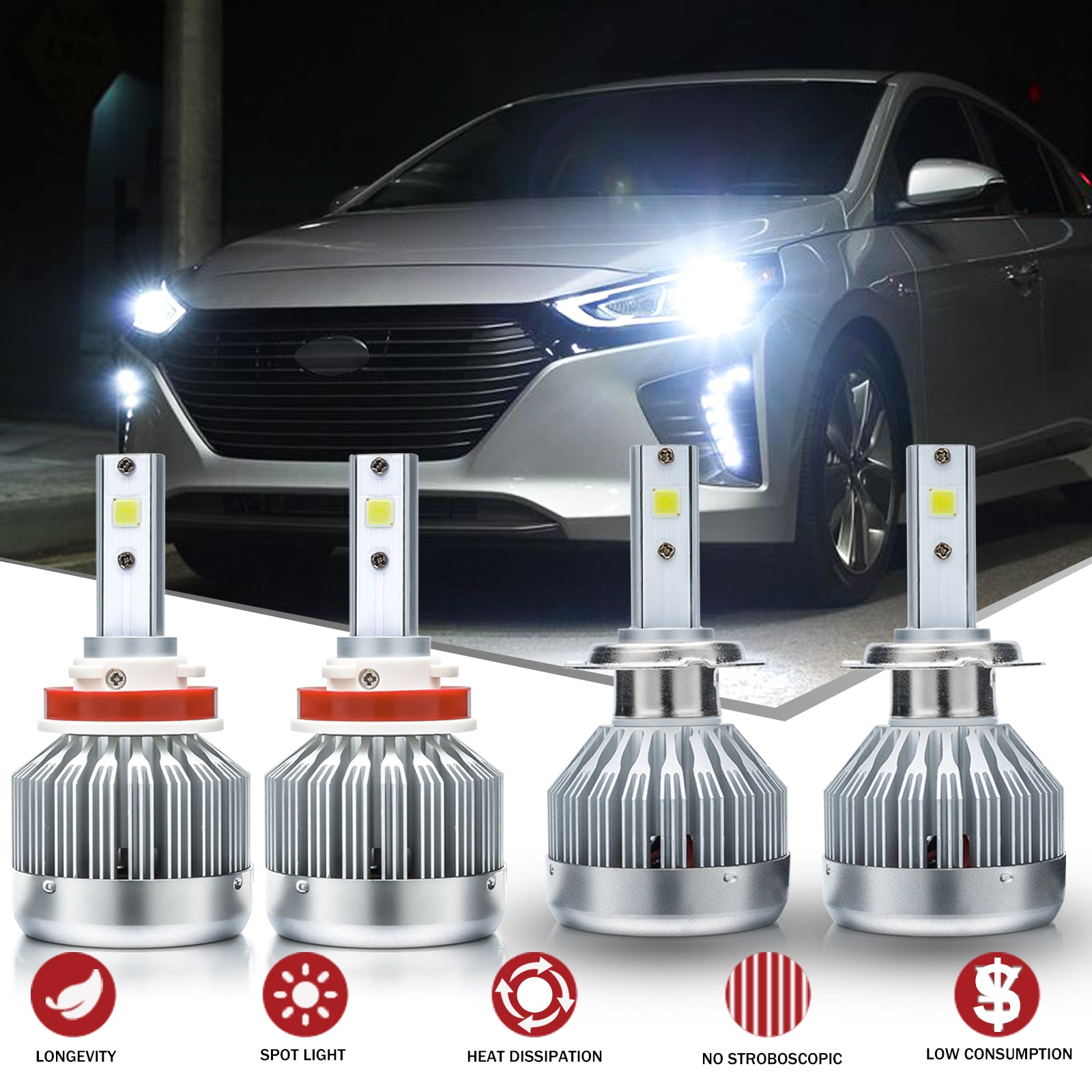 LED Headlight Bulb High Beam Kit 9005 6000k White For 2018 19 Hyundai Elantra GT