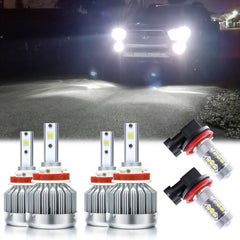 6pcs 6000K Xenon White LED Headlight Fog light Bulb Extremely Bright Upgrade Package Kit for Toyota Tacoma 2016-2019