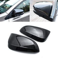 2pcs Carbon Fiber Style Side Mirror Cover Trim Direct Add-on Cap for Toyota RAV4 2016-2018
