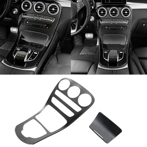 for Mercedes Benz C Class Carbon Fiber Pattern Center Console Gear Shift Panel Cover Trim, Central Control Panel Frame Decorative Sticker Fit for Mercedes Benz C Class W205 / GLC Class W253 2015-2018 (Long Wheelbase, Without Clock / With Clock)