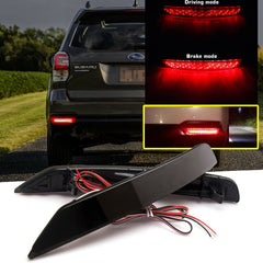Smoked Lens / Red Lens 72-SMD LED Reflector Bumper Brake Stop Tail Rear Fog Light for Subaru Forester 2009-2018